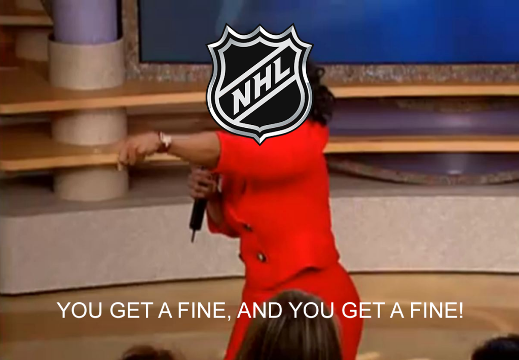 NHL levies three separate fines after a busy night at the Dept. of Player Safety offices