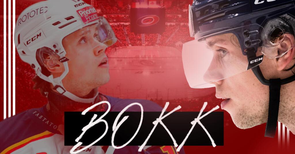 Dominik Bokk: Hurricanes-Handschuhe beim Anlauf für die NHL